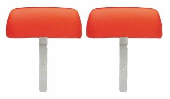 1969 Camaro Bucket Seat Headrests w/Curved Bar OE Style Orange