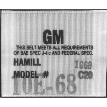 1969 Camaro Seat Belt Woven Label  Hamill C-20  Sold As Each