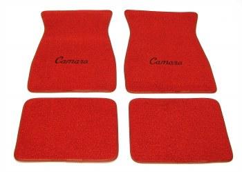 1967 1968 1969  Camaro Carpeted Floor Mats With Camaro Logo Red