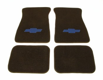 1967-81 Camaro Floor Mats Black With Blue Bowtie Logo  Made In The USA!