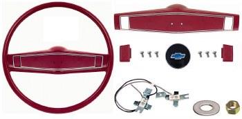 1969 1970 Camaro Deluxe Steering Wheel Kit w/Bowtie Center Cap  Red