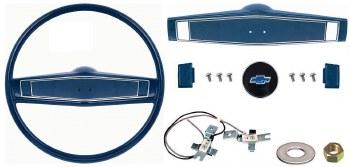 1969 1970 Camaro Deluxe Steering Wheel Kit w/Bowtie Center Cap  Dark Blue