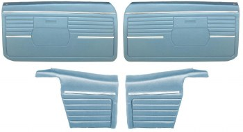1968 Camaro Convertible Standard Interior Assembled OE Door Panel Kit Med Blue