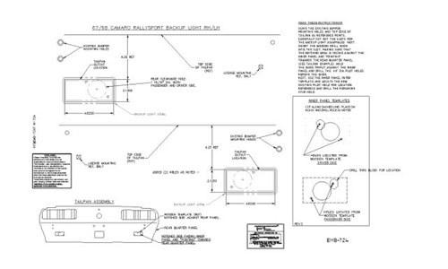 1967 1968 Camaro Rally Sport Or RS Backup Lamp Template Kit ...  Camaro Rs Engine Bay Diagram on