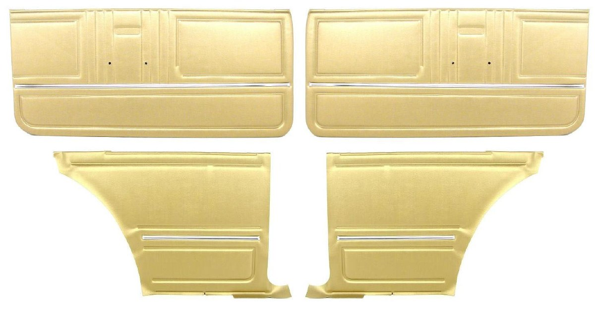 1967 Camaro Coupe Standard Door Panel Kit Pre Assembled Oe Style Gold 1967 1968 1969 Camaro Parts Nos Rare Reproduction Camaro Parts For Your Restoration