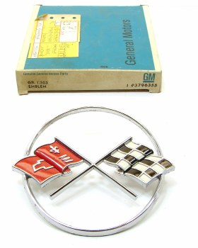 1962 Corvette NOS Cross-Flags Emblem Original GM Part# 3796355