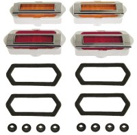 1969 Camaro Side Marker Lamp Kit with Chrome Bezels  Gaskets & Nuts