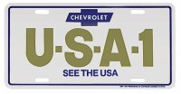 "1967-81 Camaro Chevelle Nova  License Plate USA-1""Chevrolet The USA"""