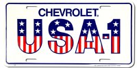 "1967-81 Camaro Chevelle Nova  License Plate USA-1""Chevrolet USA-1"""