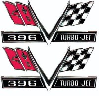 1967 Camaro 396 Fender Turbo-Jet Cross-Flags Emblems GM# 3867312 USA!