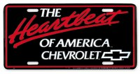 "1962-81 Camaro Chevelle Nova  License Plate ""The Heartbeat Of America Chevrolet"""