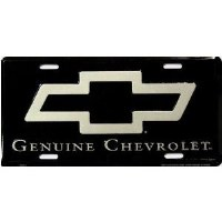 "1962-81 Camaro Chevelle Nova  License Plate ""Genuine Chevrolet""  Black"