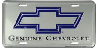 "1962-81 Camaro Chevelle Nova  License Plate ""Genuine Chevrolet"" Silver"