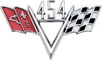 1967-1981 Camaro Chevelle Corvette Nova  Front Fender Emblem 454 Crossflags