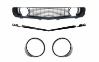 1969 Camaro Standard Black Grille Kit w/Stiffener & Headlight Bezels w/Chrome
