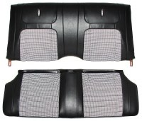 1968 Camaro Deluxe Houndstooth Interior Fold Down Rear Seat Covers  Black