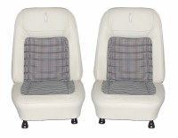 1968 Camaro Deluxe Houndstooth Interior Bucket Seats Assembled  White