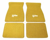 1967 Camaro Carpeted Floor Mats With Z/28 Logo Gold
