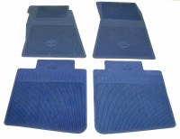 67 68 Camaro Bowtie Rubber Floor Mats Front & Rear OE Style  Bright Blue