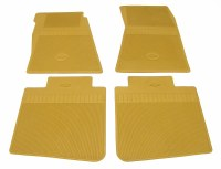 1967 Camaro Bowtie Rubber Floor Mats Front & Rear OE Style  Gold