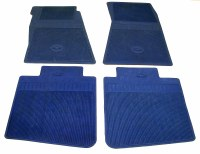 1969 Camaro Bowtie Rubber Floor Mats Front & Rear OE Style  Dark Blue