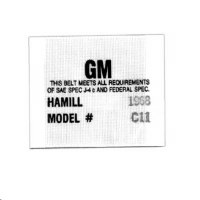 1968 Camaro Seat Belt Woven Label  Hamill C-11  Sold As Each