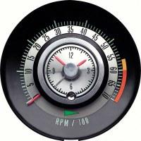 """1968 Camaro Tachometer 6000/7000 Redline Quartz Clock """"Tic Toc Tac"""" GM# 6468715"""