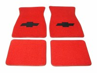 1967 1968 1969  Camaro Carpeted Floor Mats With Bowtie Logo Red