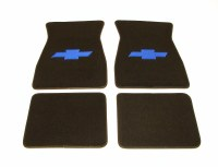 1967 1968 1969  Camaro Carpeted Floor Mats With Bowtie Logo Black
