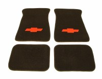 1967-81 Camaro Floor Mats Black With Red Bowtie Logo  Made In The USA!