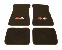 1967-81 Camaro Floor Mats Black With CrossFlags Logo  Made In The USA!