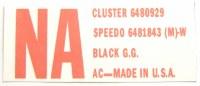 1968 Camaro Dash Carrier GM ID Decal  NA