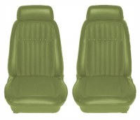 1969 Camaro Deluxe Interior Comfortweave Bucket Seats Assembled  Dark Green