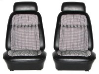 1969 Camaro Deluxe Houndstooth Interior Bucket Seats Assembled  Black