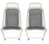1969 Camaro Deluxe Houndstooth Interior Bucket Seats Assembled  White