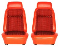 1969 Camaro Deluxe Interior Comfortweave Bucket Seats Assembled  Orange
