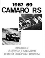 67 68 69 Camaro RS Headlight Console & Gauges Wiring Diagram Manual