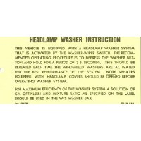 1969 Camaro Headlamp Washer System Instruction Card GM# 3063200