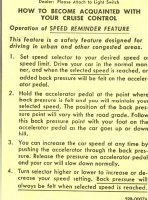 67 68 69 Camaro Cruise Control Instruction Tag