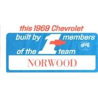 1969 Camaro Number #1 Team Norwood Window Card