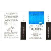 67 68 69 Camaro & Firebird Space Saver Tire Inflator Decal GM# 9793469