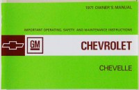 1971 Chevelle Factory Owners Manual OE Quality! Printed In The USA!