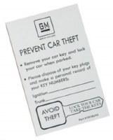 1969-1977 Camaro & Firebird GM Spare Key Envelope  White