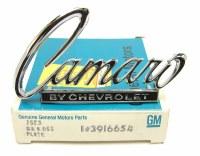 "68 69 Camaro NOS ""Camaro By Chevrolet: Header & Trunk Lid Emblem GM 3916654"
