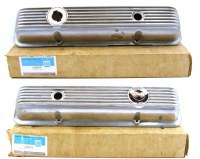 69 70 71 72 Camaro & Corvette  NOS Finned Aluminum Valve Covers  GM# 3965541 & 3965542