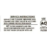 68 69 Camaro 396-375 HP Air Cleaner Service Decal