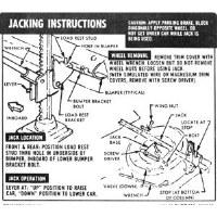 1967 1968 Camaro Convertible Jacking Instructions GM# 3909130