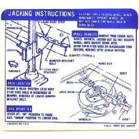 1968 Camaro Convertible Super Sport SS Jacking Instructions GM# 3929997