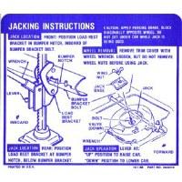 1969 Camaro Convertible Jacking Instructions GM# 3949513