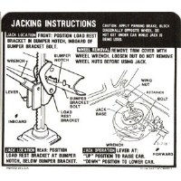 1969 Camaro Coupe Super Sport SS Jacking Instructions GM# 3949515